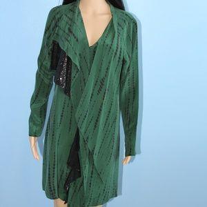 Sachin + Babi Green Shirt Dress Black Sequined